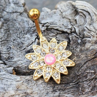 Gold Plated Gleaming Sunburst Flower Navel Ring