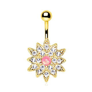 Gold Plated Gleaming Sunburst Flower Navel Ring - Fashion Hut Jewelry