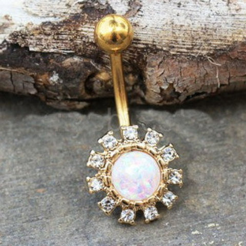 Gold Plated Dazzling Sun with Synthetic Opal Navel Ring - Fashion Hut Jewelry