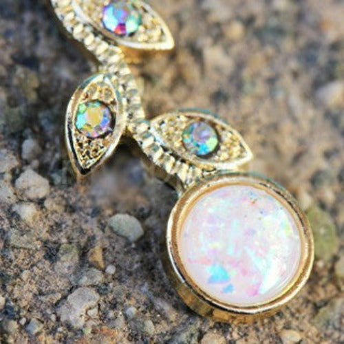 Gold Synthetic Opal Flower Vine Dangle Navel Ring - Fashion Hut Jewelry