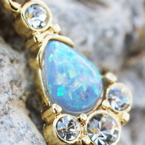 Gold Light Blue Tear Drop Synthetic Opal Dangle Navel Ring - Fashion Hut Jewelry