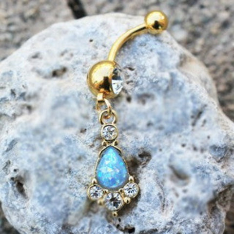 Gold Light Blue Tear Drop Synthetic Opal Dangle Navel Ring
