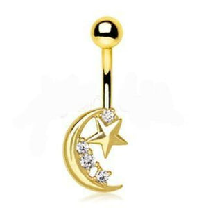 Gold Crescent Moon & Shinning Star Navel Ring - Fashion Hut Jewelry