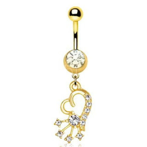 Gold Heart and Shooting Star Dangle Navel Ring - Fashion Hut Jewelry