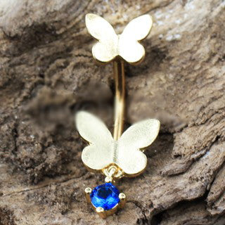 Gold Double Butterfly Navel Ring