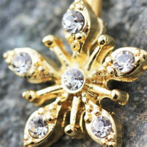 Gold Snow Crystal Navel Belly Button Ring