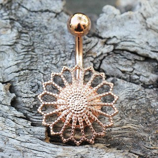 Rose Gold Plated Ornate Flower Navel Ring