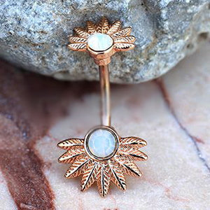 Rose Gold Plated White Synthetic Opal Palm Leaves Navel Rings