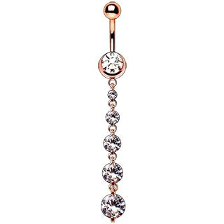Rose Gold Plated Cascading CZ Dangle Navel Ring - Fashion Hut Jewelry