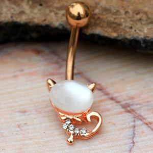 Rose Gold Plated Cat's Eye Cat Navel Ring - Fashion Hut Jewelry