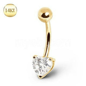 14Kt Yellow Gold Navel Ring with Heart Gem Prong Setting - Fashion Hut Jewelry