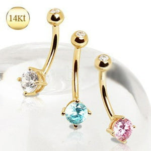 14Kt Gold Navel Ring with Prong Set Round CZ - Fashion Hut Jewelry