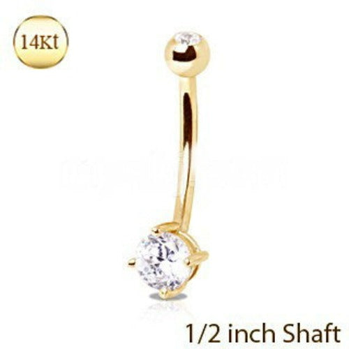 "14Kt Yellow Gold 1/2"" Navel Ring with Clear Round Prong Set CZ - Fashion Hut Jewelry"