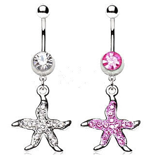316L Surgical Steel Navel Ring with Starfish Dangle - Fashion Hut Jewelry