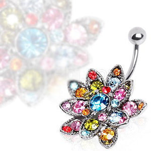 316L Surgical Steel Hinged Navel Ring with Multi Gem Lotus Flower - Fashion Hut Jewelry