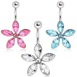316L Surgical Steel Navel Ring with Star Shaped Flower - Fashion Hut Jewelry