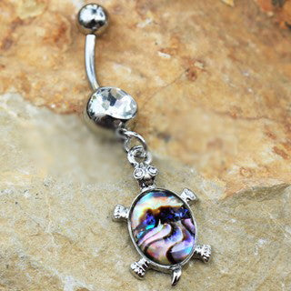 316L Stainless Steel Teal Abalone Inlay Turtle Dangle Navel Ring - Fashion Hut Jewelry