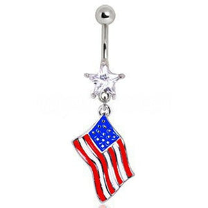 316L Surgical Steel USA Flag Navel Ring - Fashion Hut Jewelry