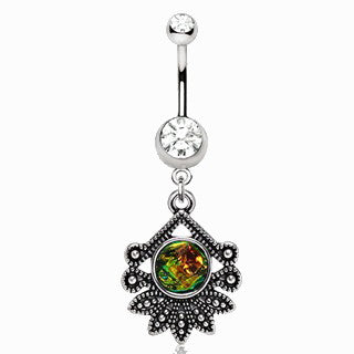 316L Stainless Steel Tropical Flower Dangle Navel Ring - Fashion Hut Jewelry