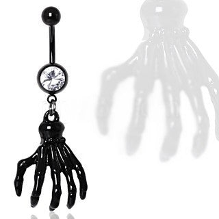 Black Zombie Claw Gemmed Navel Ring - Fashion Hut Jewelry