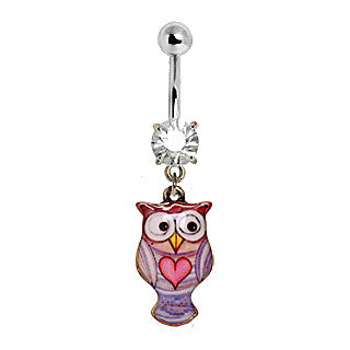 316L Stainless Steel Pink Heart Owl Navel Ring - Fashion Hut Jewelry