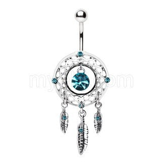 316L Stainless Steel Native Dream Catcher Navel Ring - Fashion Hut Jewelry
