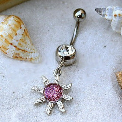 316L Stainless Steel Belly Ring with Glitter Sol Sunburst Dangle