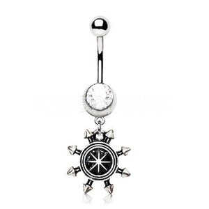 Spiked Nautical Compass Dangle Navel Ring - Fashion Hut Jewelry