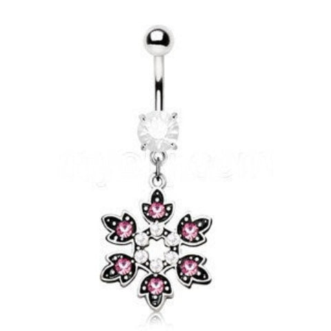 Flower Dangle Navel Ring - Fashion Hut Jewelry