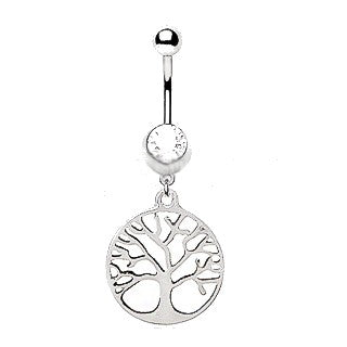 316L Stainless Steel Tree of Life Dangle Navel Ring - Fashion Hut Jewelry