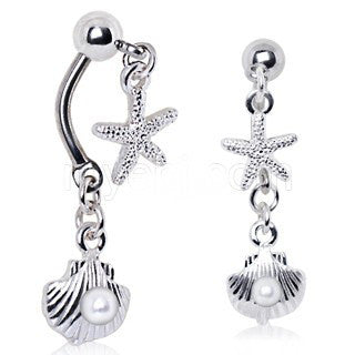 316L Stainless Steel Starfish and Pearl Seashell Double Dangle Navel Ring - Fashion Hut Jewelry