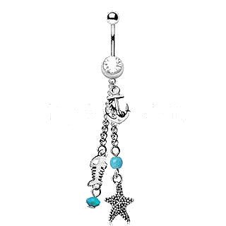 316L Stainless Steel Nautical Beach Charms Dangle Navel Ring - Fashion Hut Jewelry