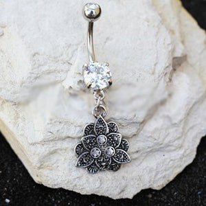 316L Stainless Steel Jeweled Vintage Lotus Dangle Navel Ring - Fashion Hut Jewelry