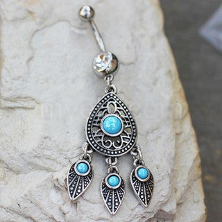 316L Stainless Steel Turquoise Teardrop and Feather Dangle Navel Ring - Fashion Hut Jewelry