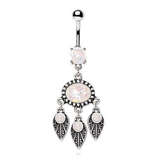 316L Stainless Steel Native Feather Wind Chime Navel Ring with Synthetic Opal - Fashion Hut Jewelry