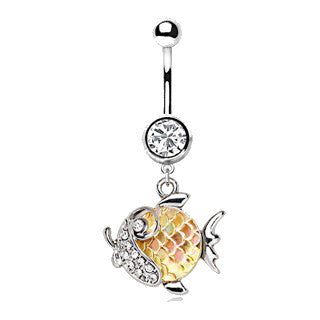 316L Stainless Steel Jeweled Gold Fish Dangle Navel Ring - Fashion Hut Jewelry