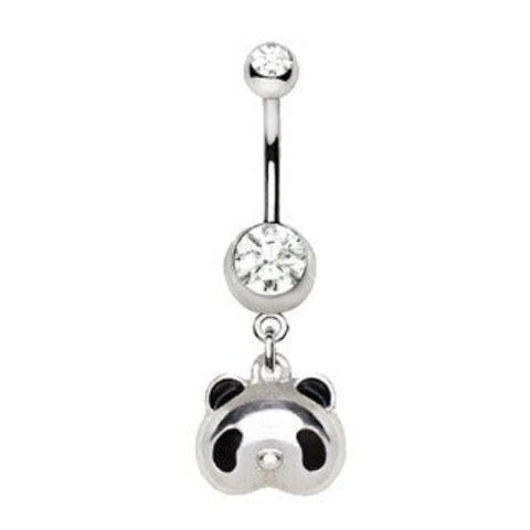 316L Stainless Steel Cute Panda Bear Dangle Navel Ring - Fashion Hut Jewelry