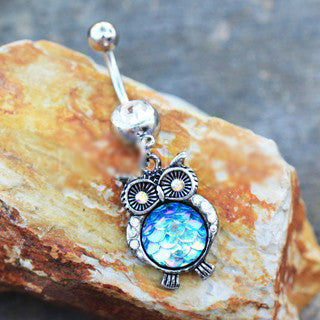 316L Stainless Steel Jeweled Rainbow Owl Dangle Navel Ring - Fashion Hut Jewelry