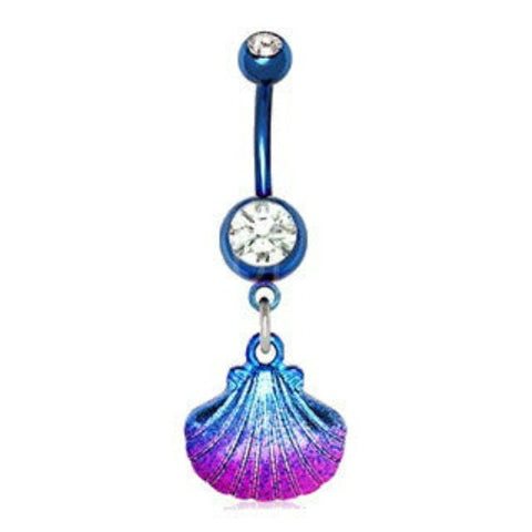 Blue PVD Plated Navel Ring with Blue & Pink Seashell Dangle