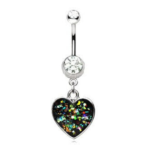 316L Stainless Steel Glitter Epoxy Heart Dangle Navel Ring - Fashion Hut Jewelry