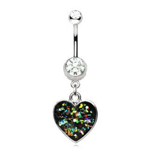 316L Stainless Steel Glitter Epoxy Heart Dangle Navel Ring