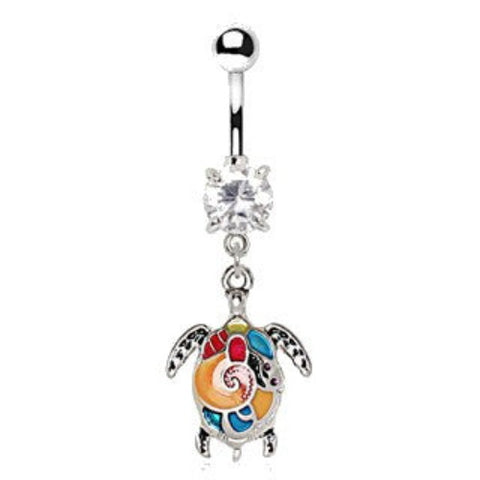 316L Stainless Steel Aloha Sea Turtle Dangle Navel Ring - Fashion Hut Jewelry