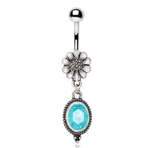 316L Stainless Steel Flower and Aqua Pendant Dangle Navel Ring - Fashion Hut Jewelry
