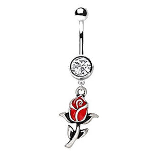 316L Stainless Steel Red Rose Dangle Navel Ring - Fashion Hut Jewelry