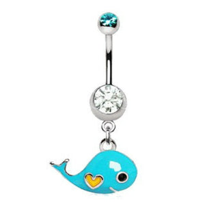 Lovely Blue Whale Dangle Navel Ring - Fashion Hut Jewelry