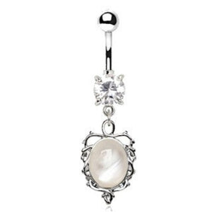 Ornate White Cat's Eye Dangle Navel Belly Ring - Fashion Hut Jewelry