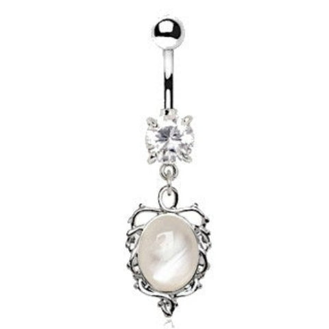 Ornate White Cat's Eye Dangle Navel Belly Ring