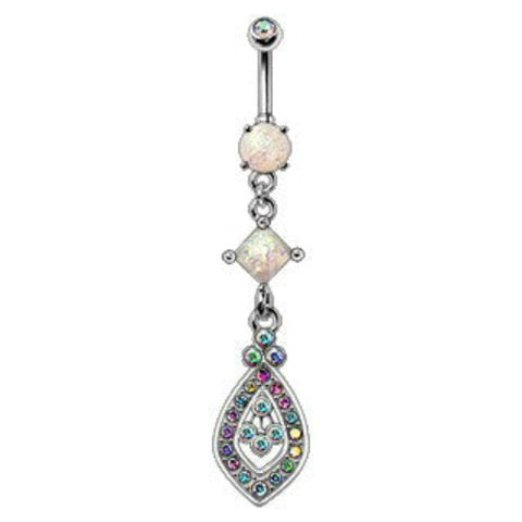 316L Stainless Steel Aurora Teardrop Dangle Navel Ring - Fashion Hut Jewelry