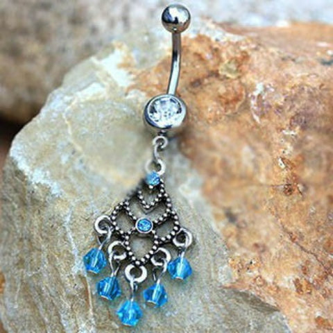 316L Stainless Steel Aqua Chandelier Dangle Navel Ring - Fashion Hut Jewelry