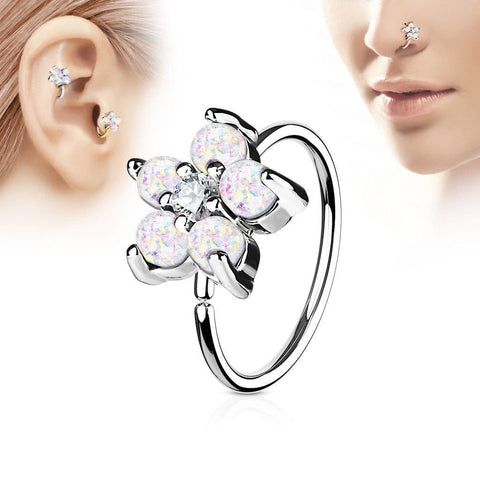 316L Stainless Steel Synthetic Opal Flower Nose Hoop / Cartilage Earring - Fashion Hut Jewelry